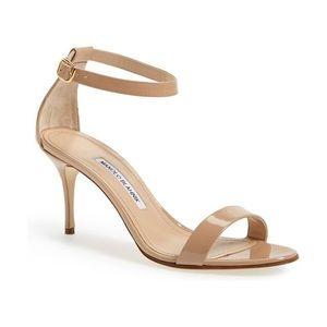 Manolo Blahnik Beige Patent Leather Sandal